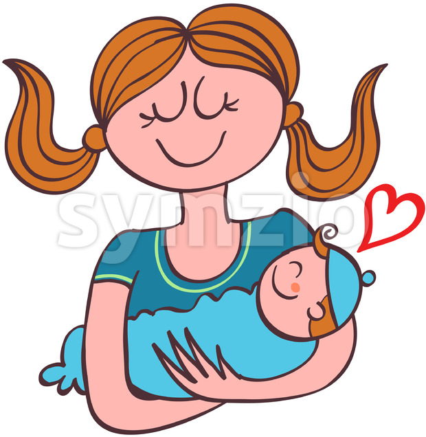 Adorable mom holding her baby boy in her arms Stock Vector