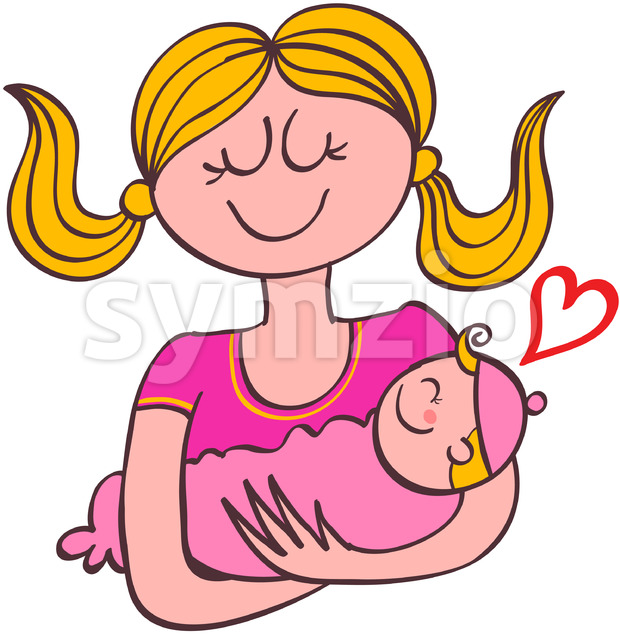 Sweet mom holding her baby girl in her arms Stock Vector