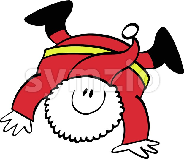 Happy Santa Claus executing a cartwheel Stock Vector