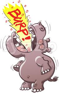 Chubby hippopotamus burping loudly Stock Vector