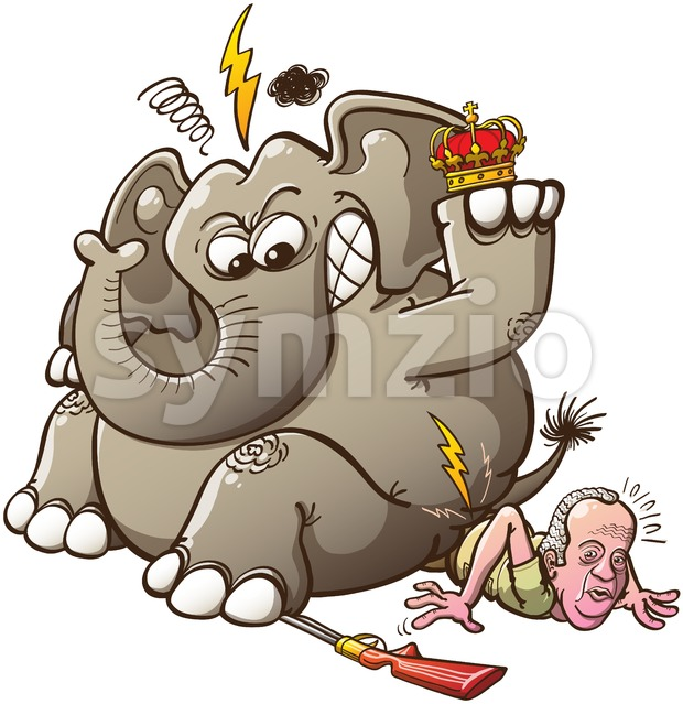 Furious elephant breaks Spain's King hip Stock Vector