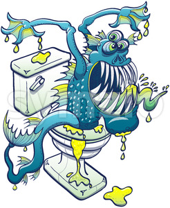 Terrific toilet monster coming out from sewage Stock Vector