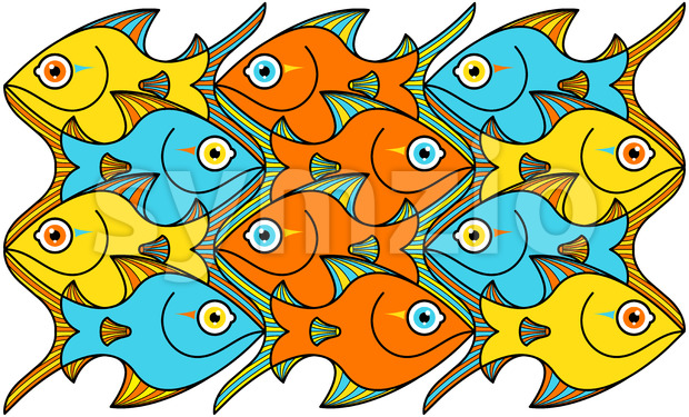 Colorful fishes forming a seamless pattern Stock Vector