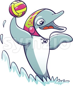 Cool dolphin playing water polo Stock Vector