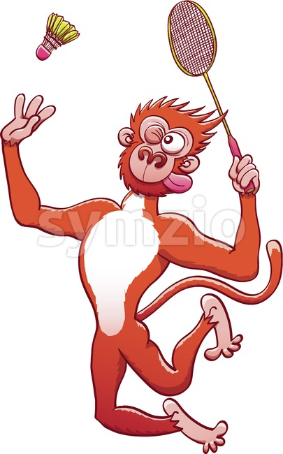 Cool monkey playing badminton Stock Vector