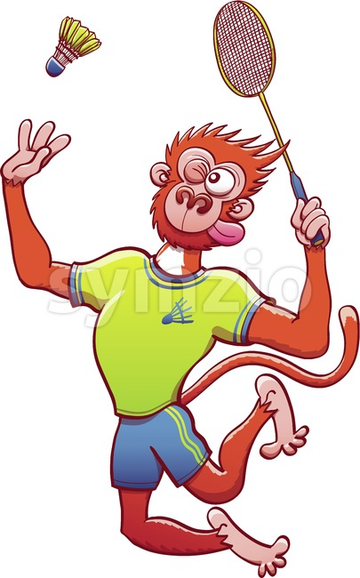 Monkey wearing uniform and playing badminton Stock Vector