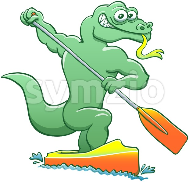 Water monitor competing in a canoe sprint event Stock Vector