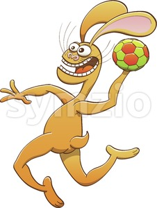 Brave hare playing handball Stock Vector