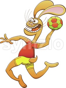 Hare wearing uniform and playing handball Stock Vector