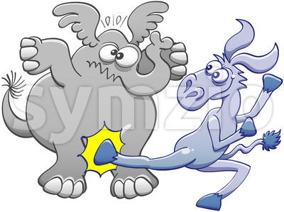 Mischievous donkey kicking an elephant Stock Vector