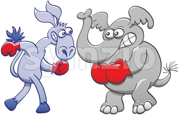 Elephant and donkey preparing for a boxing match Stock Photo