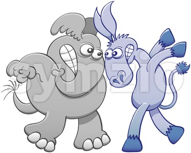 Face to face donkey and elephant confrontation Stock Photo
