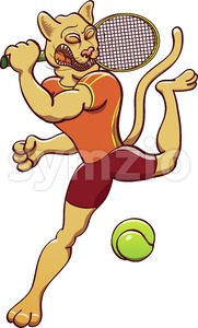 Puma smashing a tennis ball Stock Vector