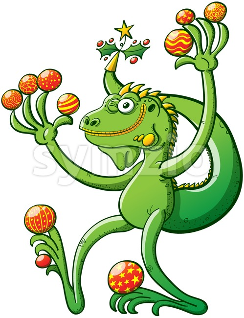Christmas iguana winking and holding baubles Stock Vector