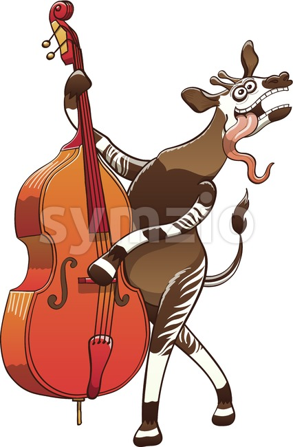 Cool okapi playing double bass Stock Vector