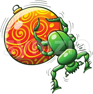 Christmas beetle pushing a beautiful bauble Stock Vector