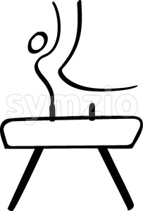 Stick man performing on a pommel horse Stock Vector