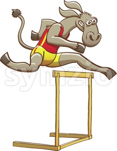 Donkey running and jumping over a hurdle Stock Vector