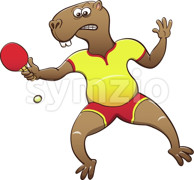 Capybara playing table tennis Stock Vector