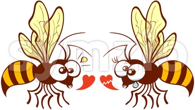 Couple of bees expressing love feelings Stock Vector