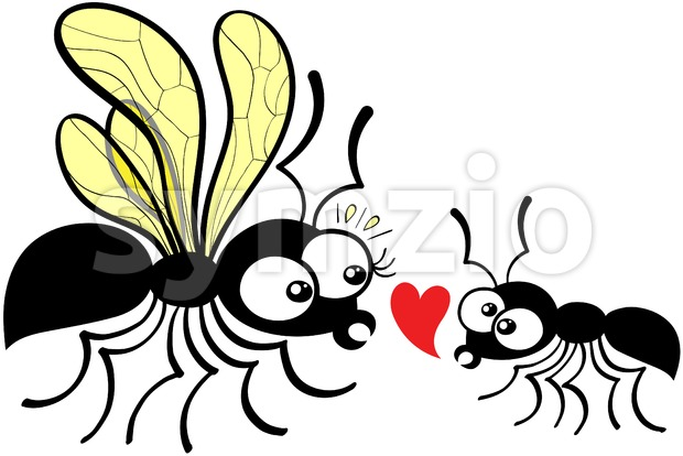 Shy worker ant declaring love to queen ant Stock Vector
