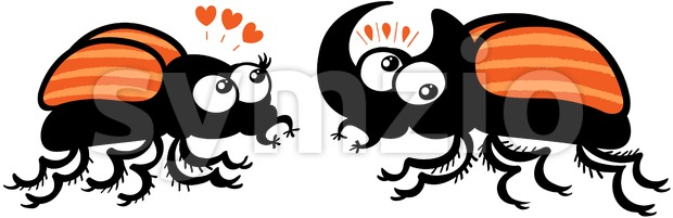 Couple of rhinoceros beetles falling in love Stock Vector