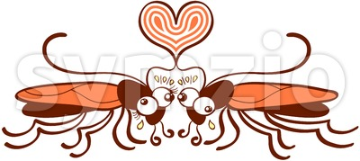 Couple of ugly cockroaches funnily falling in love Stock Vector