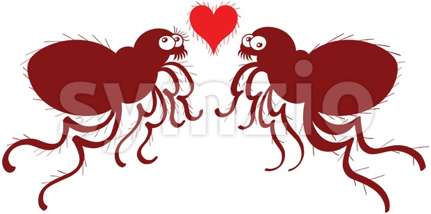 Couple of ugly fleas madly falling in love Stock Vector