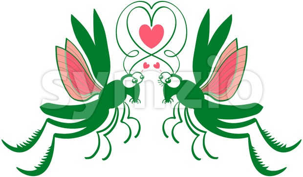 Green grasshoppers deeply falling in love Stock Vector