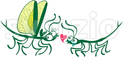 Stick insects' painful declaration of love Stock Vector