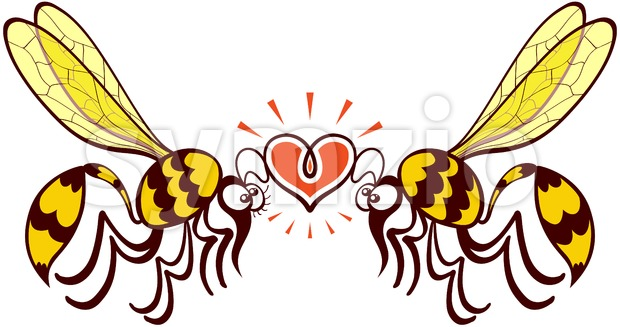 Couple of beautiful wasps irremediably falling in love Stock Vector
