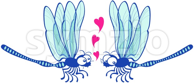 Blue dragonflies tenderly falling in love Stock Vector