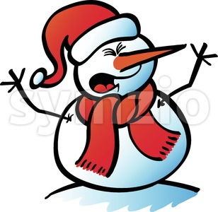 Christmas Snowman yelling Stock Vector
