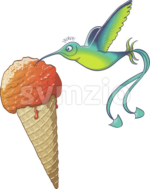 Cool hummingbird eating ice cream cone Stock Vector