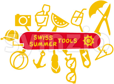 Swiss summer knife multifunction tools Stock Vector