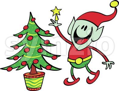 Green elf decorating a Christmas tree Stock Vector