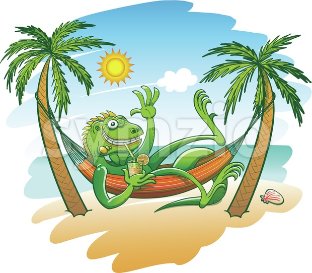 Green iguana enjoying holidays in a hammock on the beach Stock Vector