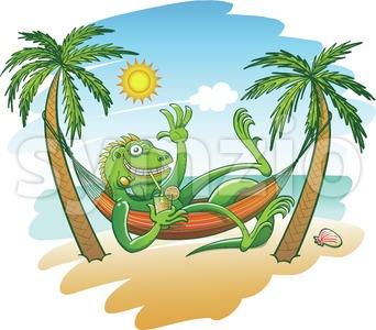 Green iguana enjoying holidays in a hammock on the beach Stock Vector