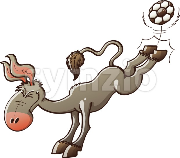 Donkey playing soccer and powerfully kicking the ball Stock Vector