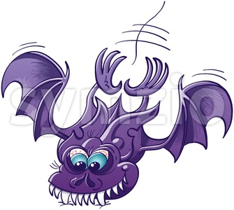 Scary bat attacking and sinking its fangs into a surface Stock Vector