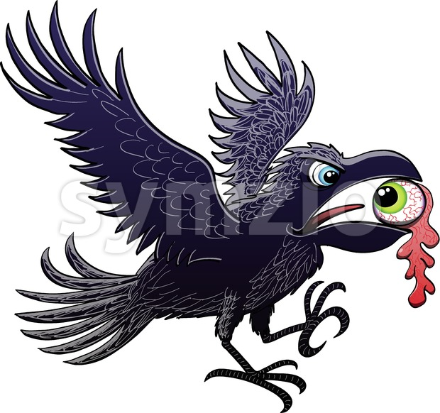 Naughty raven showing a ripped out eyeball in beak Stock Vector