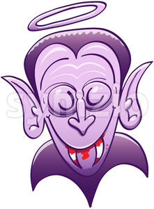 Dracula looking innocent while having blood on his teeth Stock Vector
