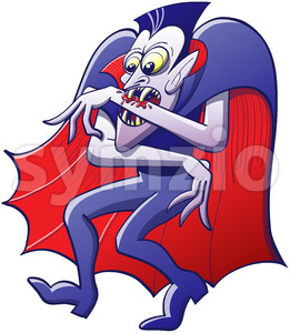Thirsty Dracula sucking blood from his own arm Stock Vector