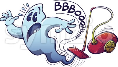 Halloween ghost vacuum cleaner nightmare Stock Vector