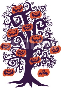 Halloween tree full of naughty pumpkins Stock Vector