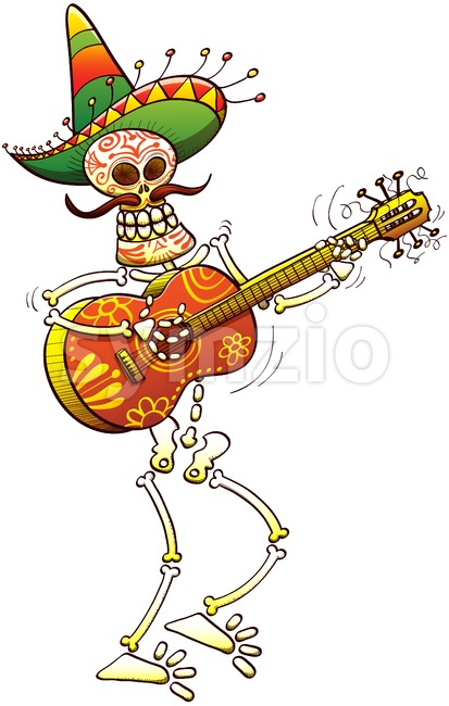 Mexican skeleton playing guitar animatedly Stock Vector