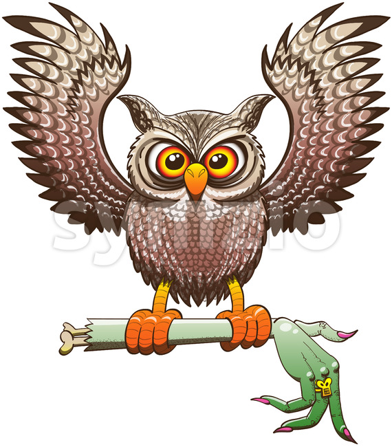 Naughty owl carrying a severed witch arm Stock Vector