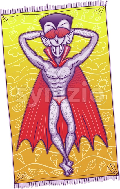 Dracula sunbathing and enjoying holidays Stock Vector