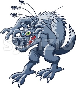 Monstrous werewolf scratching fleas Stock Vector