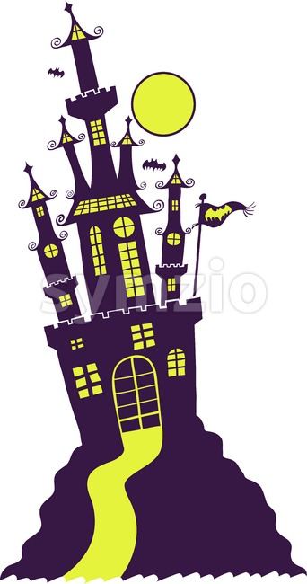 Purple Halloween castle in Gothic style Stock Vector